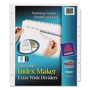 Avery 11441 Index Maker Extra wide Clear Label Dividers 8 tab 11 1 4 X 9 1 4
