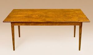 Shaker Style Farm House Dining Room Table 4 Legs 5ft Tiger Maple Wood Furniture