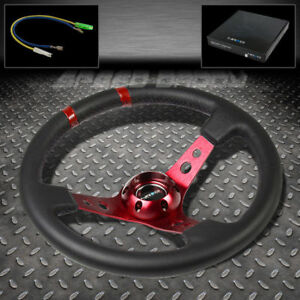 Universal Nrg Aluminum 35cm Racing 3 dish Steering Wheel Black W red Dual Mark