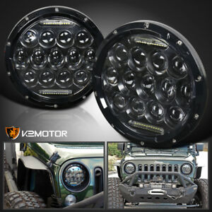 2x 7 Round 75w Led Headlights Hi Low Sealed Beam For Jeep Wrangler Tj Jk