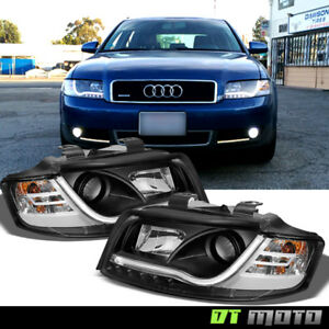 Blk 2002 2003 2004 2005 Audi A4 S4 S5 Led Light Bar Style Projector Headlights