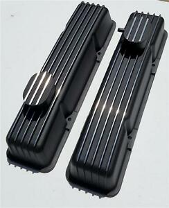Tall Chevy Nostalgic Black Aluminum Finned Valve Covers 350 Vintage Breather Pcv
