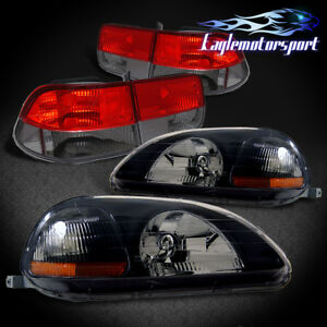 1996 1998 Honda Civic 2dr Coupe Black Headlights Red Smoke Tail Lamps 97