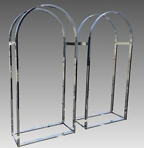 Pair Of Mid Century Modern Chrome Glass Etegere By Milo Baughman