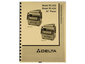 Delta 24 Model Rc 63d Rc 63n Wood Planer Instruction Parts Manual 860