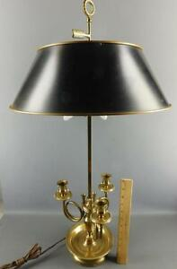 Vintage French Hunt Horn Tole Shade 3 Arm Candle Brass Bouillotte Table Lamp