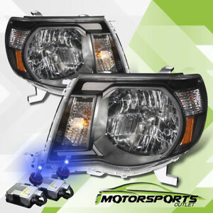 For 2005 2006 2007 2008 2009 2010 2011 Toyota Tacoma Black Headlights 10000k Hid