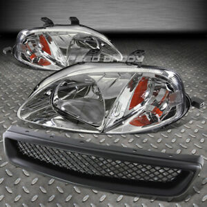 For Civic Ej Ek Em Black Front Grill Chrome Head Lamps Lights Amber Reflector