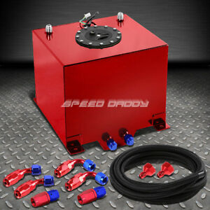 5 Gallon Red Aluminum Fuel Cell Gas Tank cap level Sender nylon Fuel Line Kit