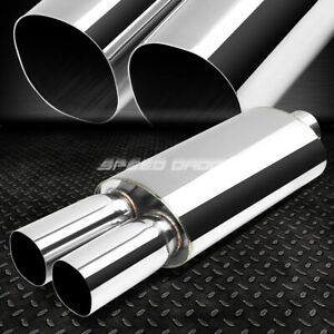 2 5 inlet 3 Chrome Dual Square Tip T304 Stainless Racing Oval Exhaust Muffler