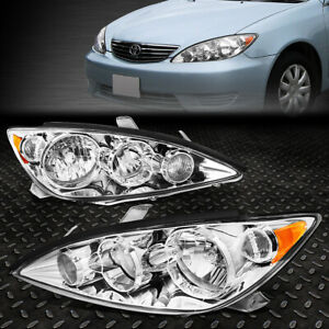 For 2005 2006 Toyota Camry Pair Chrome Housing Amber Corner Headlight Lamp Set
