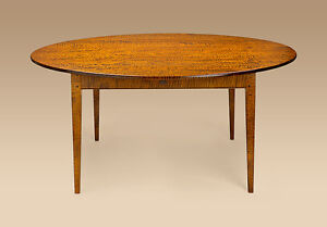 Shaker Style Dining Room Table Tiger Maple Wood Round 72in Pennsylvania Made New