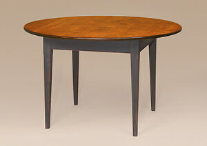 Country Kitchen Table 54in Round Tiger Maple Wood Primitive Shaker Furniture New