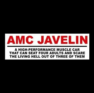 Funny Amc Javelin Decal Sticker Muscle Car 1968 1969 1971 1972 1973 Hot Rod