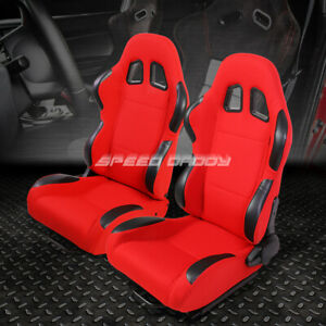 Pair Red Black Trim Fully Reclinable Woven Fabric Type R Racing Seats W Sliders