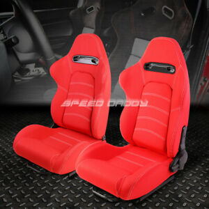 Pair Red Double White Stitch Reclinable Cloth Type R Racing Seats W Sliders