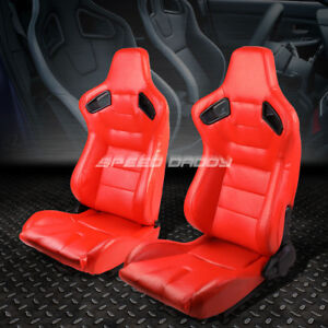 Pair Red Body Fully Reclinable Pvc Horizontal Stitch Racing Seats W Sliders