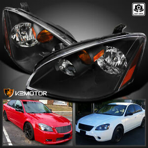 For 2002 2004 Nissan Altima Jdm Black Headlights Head Lamps Pair