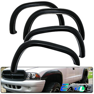 Fender Flares For 1997 2004 Dodge Dakota Smooth Black Pocket Style Front Rear