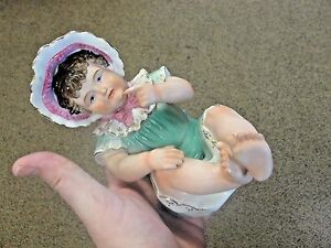 Large German Baby Girl Piano Doll Bisque Turn Of Century Figurine In Bonnet