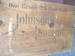 Old Advertising Wooden Shipping Crate Johnsons Liniment Boston