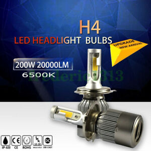 H4 Cob Led Headlight Hb2 9003 200w 20000lm Conversion Kit Hi Lo Beam Bulbs 6000k