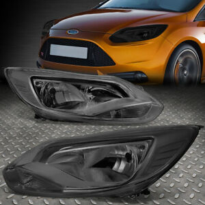 For 12 14 Ford Focus Smoked Housing Clear Corner Headlight Replacement Head Lamp