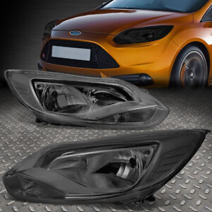 For 2012 2014 Ford Focus Gen3 Pair Smoked Housing Clear Corner Headlight lamp