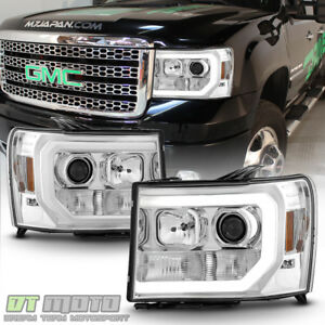 Updated Led Tube Style 2007 2013 Gmc Sierra 1500 2500 3500 Projector Headlights
