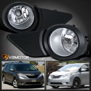 For Jdm 11 17 Toyota Sienna Clear Front Bumper Fog Lights Lamps Switch
