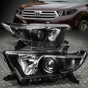 For 11 13 Toyota Highlander Black Housing Clear Corner Projector Headlight Lamp