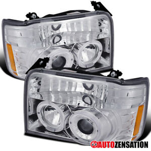 For 1992 1996 Ford F150 F250 F350 Bronco Clear Lens Halo Projector Headlights