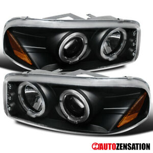 00 06 Gmc Sierra yukon Denali Black Led Drl Halo Projector Headlights