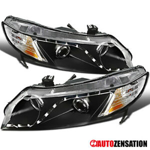 For 2006 2011 Honda Civic 4dr Sedan R8 Led Drl Black Clear Projector Headlights