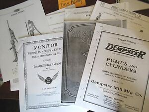 9 Various Dempster Mcdonald Fairbury Windmill Hand Water Pump Part Repair List