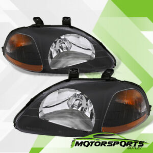 Jdm Black For 1996 1997 1998 Honda Civic Dx Ex Lx Replacement Headlights Pair