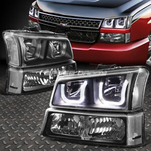 Led U Halo For 2003 2006 Chevy Silverado Black Clear Headlight Lamp Set 4pcs