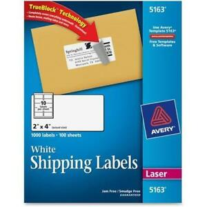 Avery 5163 Easy Peel Address Label 2 Width X 4 Length 1000 Box Rectang