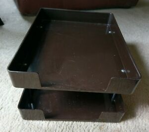 Vintage Smokador Double Letter Tray Legal Size Office Desk Heavy Duty Dark Brown
