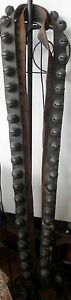 Antique Leather Strap Of Sleigh Bells 2 Each Bell Engraved 87 Long 46 Bells