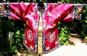 Antique Vintage Chinese Embroidered Short Purple Silk Jacket Goldfish Embroidery