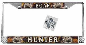 Wild Boar Hog Camouflage License Plate Frame Personalize Text Polished Metal