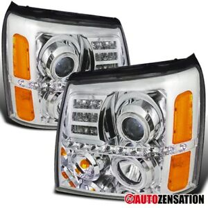 For 2002 2006 Cadillac Escalade Clear Lens Led Strip Halo Projector Headlights