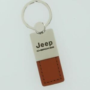 Jeep Cherokee Brown Leather Key Ring