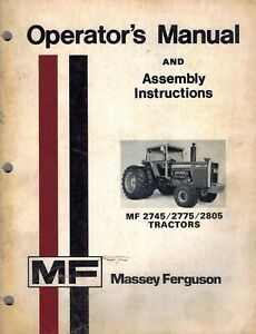 Massey Ferguson 2745 2775 2805 Tractors Operators Manual 1979