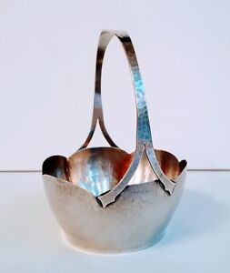 Fine Lebolt Arts And Crafts Hand Made Hand Beaten Sterling Basket 802