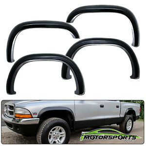 1997 2004 Dodge Dakota Front Rear Pocket Style Black Fender Flares Set