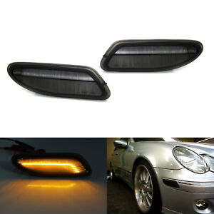 Euro Smoked Lens Amber Led Side Marker Lights For 01 07 Mercedes W203 C class