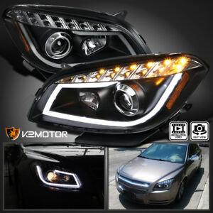 2008 2012 Chevy Malibu Led Projector Headlights Lamps Black Left right