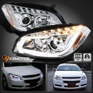 Fit 08 12 Chevy Malibu Led Crystal Projector Headlights Lamps Left Right Pair